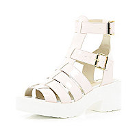 Light pink block heel gladiator sandals