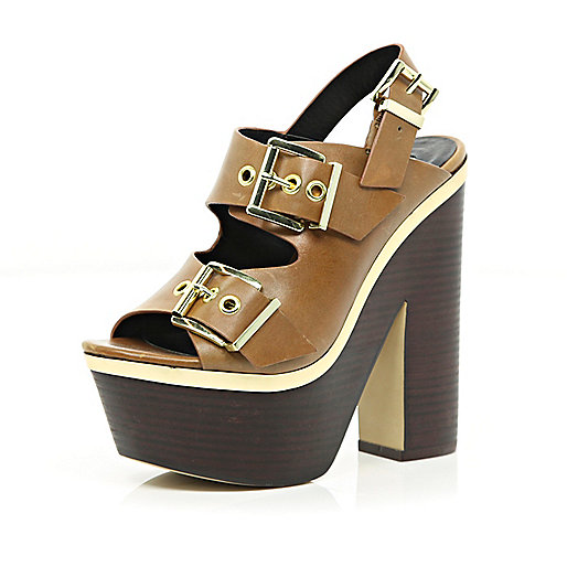 Tan chunky buckle platform sandals
