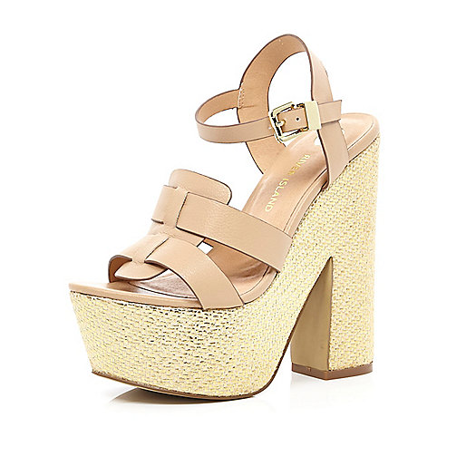 Light pink metallic raffia platform sandals