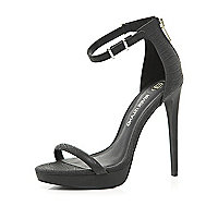 Black platform barely there sandals