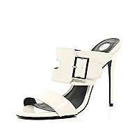 White buckle strap stiletto mules