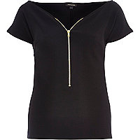 Black zip front bardot top
