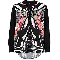 Black abstract print contrast sleeve shirt