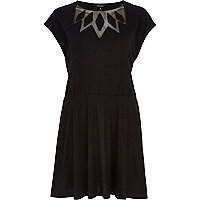 Black mesh insert smock dress