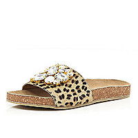 Brown leopard print embellished mules