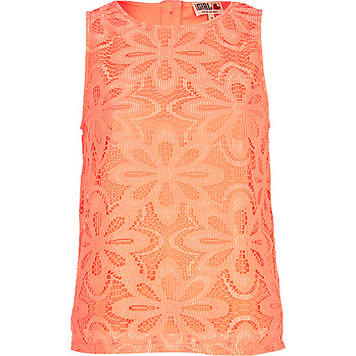 Pink Chelsea Girl daisy lace tank top