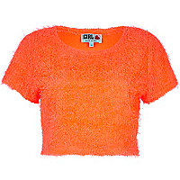 Orange Chelsea Girl fluffy cropped jumper