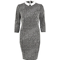 Grey textured contrast collar bodycon dress