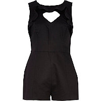 Black ruffle trim cut out playsuit