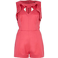 Pink ruffle trim cut out playsuit