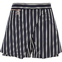 Navy pinstripe smart skort