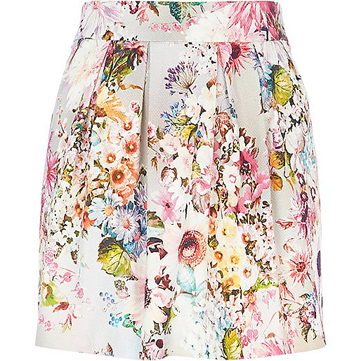 Grey floral print structured mini skirt