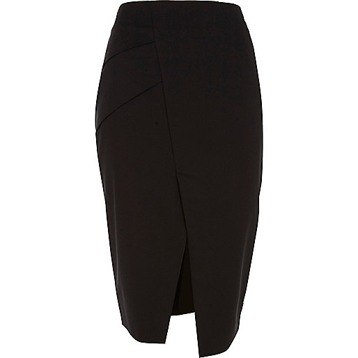 Black structured split front pencil skirt
