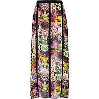 Pink abstract print split maxi skirt