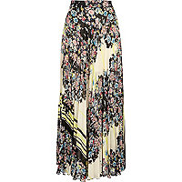 Black floral border print pleated maxi skirt