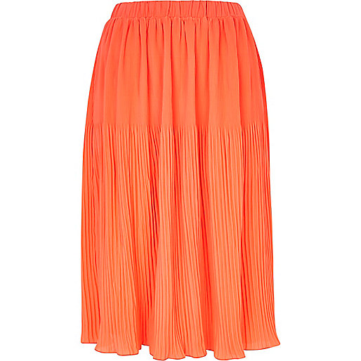 Coral pleated midi skirt