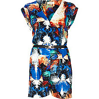 Blue splash print wrap playsuit