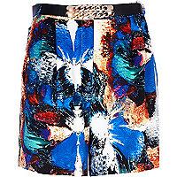 Blue splash print chain belt long shorts