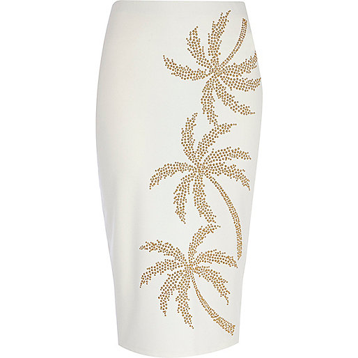 White studded palm tree print pencil skirt