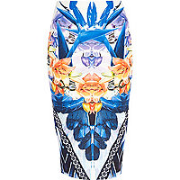 Blue abstract feather print tube skirt