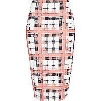 Pink smudge check print tube skirt