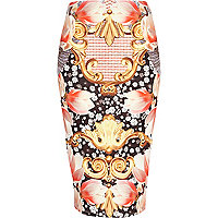 Pink abstract mixed print tube skirt