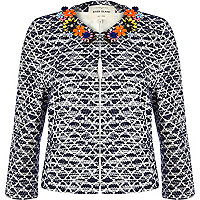 Navy jacquard gem stone flower trim jacket