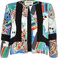 Black abstract print colour block boxy jacket