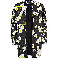 Black daisy print open front coat