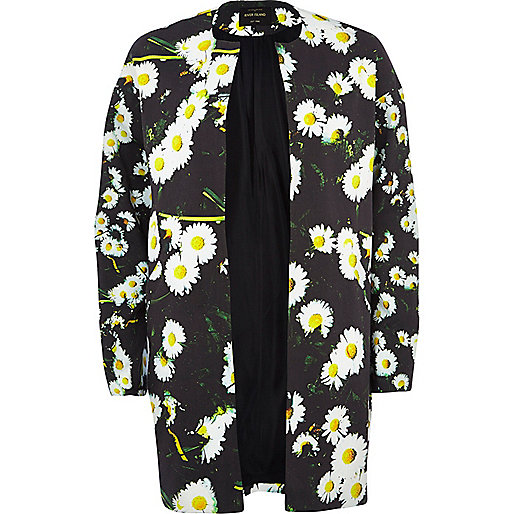 Black daisy printed coat