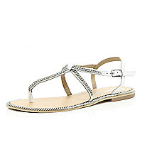White chain embellished t bar sandals