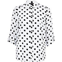 Black and white polka dot roll sleeve shirt
