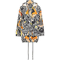Cream graphic print lightweight parka jacket