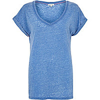 Blue burnout V neck t-shirt