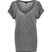 Grey burnout V neck t-shirt