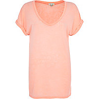 Coral burnout V neck t-shirt