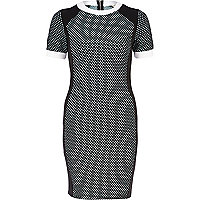 Black check colour block bodycon dress
