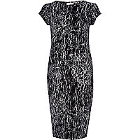 Black scribble print t-shirt column dress