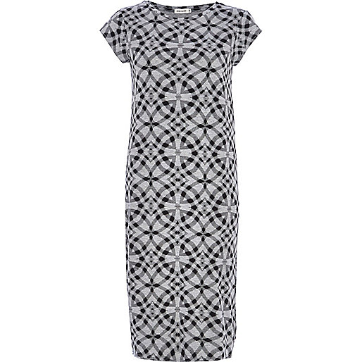 Grey geometric print t-shirt column dress