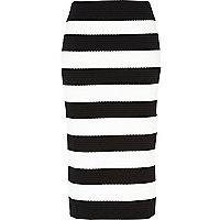 Black and white stripe bandage midi skirt