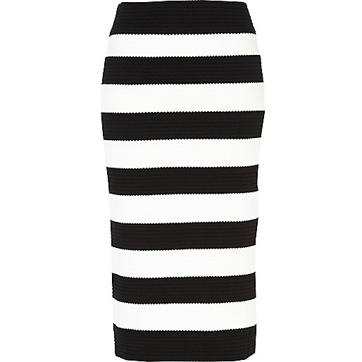 Black and white stripe bandage midi skirt