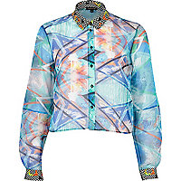 Blue abstract print chiffon cropped shirt