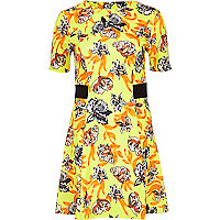 Yellow floral print skater dress