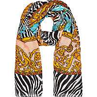 Pink zebra and baroque print scarf