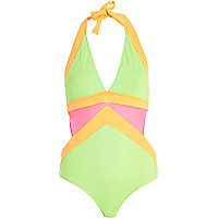 Green mesh cut out halterneck swimsuit