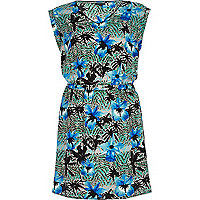 Blue tropical print waisted dress