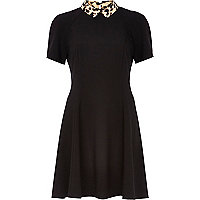 Black contrast leopard collar skater dress
