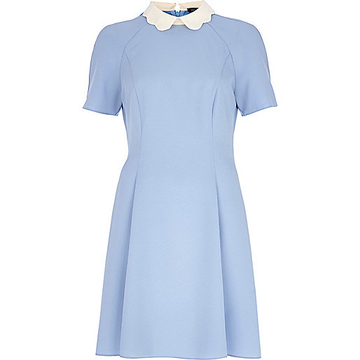 Blue Scalloped Collar Tea Dress £35 from River Island