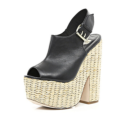 Black sling back raffia platforms