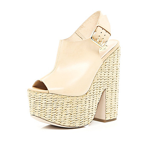 Light pink sling back raffia platforms